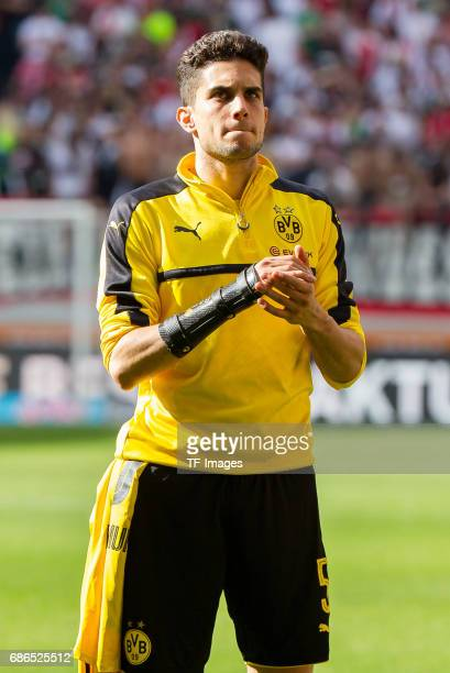 Marc Bartra of Dortmund looks on during the Bundesliga match between FC Augsburg and Borussia Dortmund at the WWKArena on May 13 2017 in Augsburg...