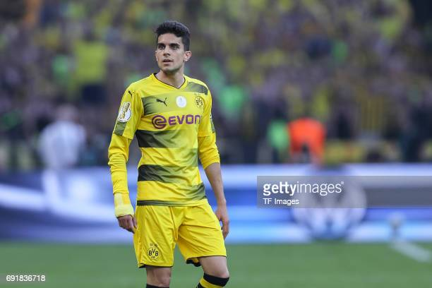 Marc Bartra of Dortmund looks on during the DFB Cup final match between Eintracht Frankfurt and Borussia Dortmund at Olympiastadion on May 27 2017 in...