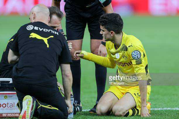 Marc Bartra of Dortmund on the ground during the DFB Cup final match between Eintracht Frankfurt and Borussia Dortmund at Olympiastadion on May 27...