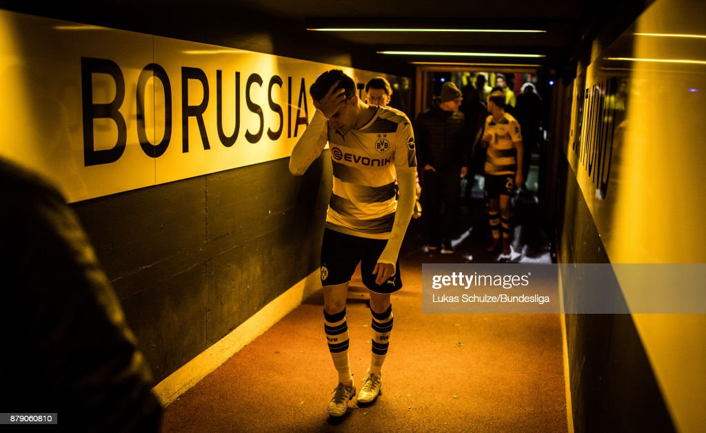 Marc Bartra of Dortmund reacts in the player tunnel after the Bundesliga match between Borussia Dortmund and FC Schalke 04 at Signal Iduna Park on November 25, 2017 in Dortmund, Germany.