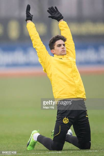 Marc Bartra of Dortmund warms up during the training of Borussia Dortmund ahead of the UEFA Champions League Round of 16 second leg match between...