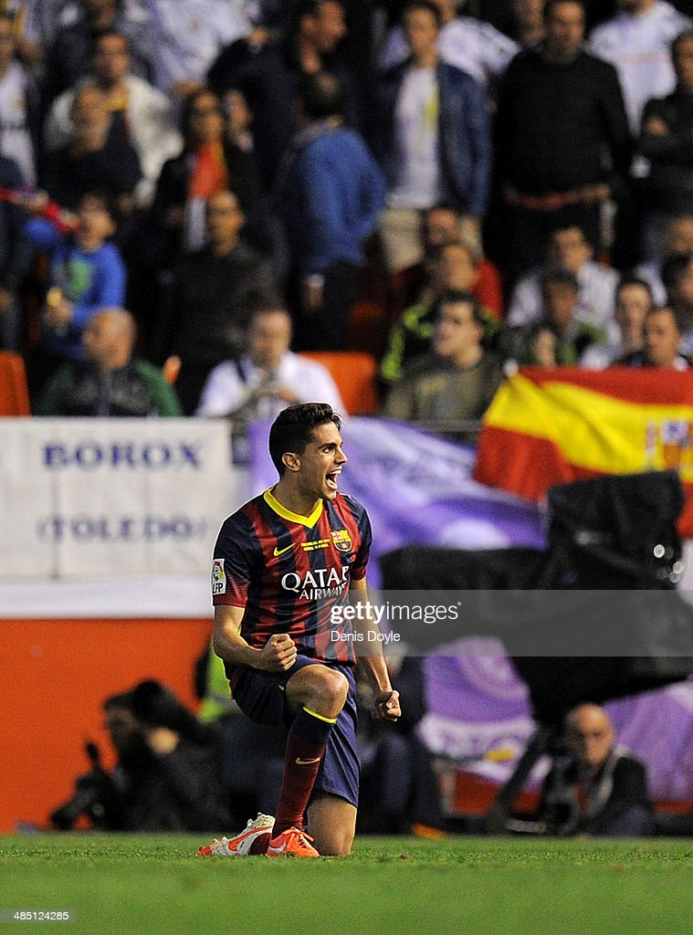 Marc Bartra of FC Barcelona celebrates after scoring Barcelona's opening goal during the opa del Rey Final between Real Madrid and Barcelona at Estadio Mestalla on April 16, 2014 in Valencia, Spain.