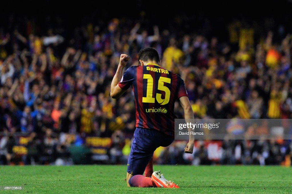 Marc Bartra of FC Barcelona celebrates after scoring his team's first goal during the Copa del Rey Final between Real Madrid and FC Barcelona at...