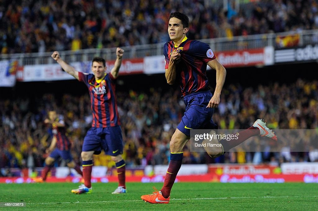 Marc Bartra of FC Barcelona celebrates after scoring his team's first goal during the Copa del Rey Final between Real Madrid and FC Barcelona at Estadio Mestalla on April 16, 2014 in Valencia, Spain.