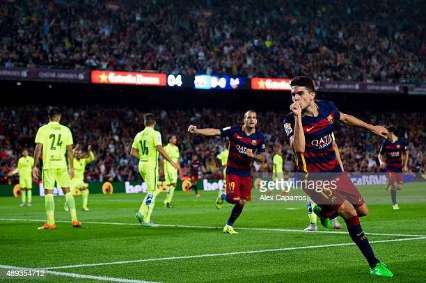 Marc Bartra of FC Barcelona celebrates after scoring the opening goal during the La Liga match between FC Barcelona and Levante UD at Camp Nou on...