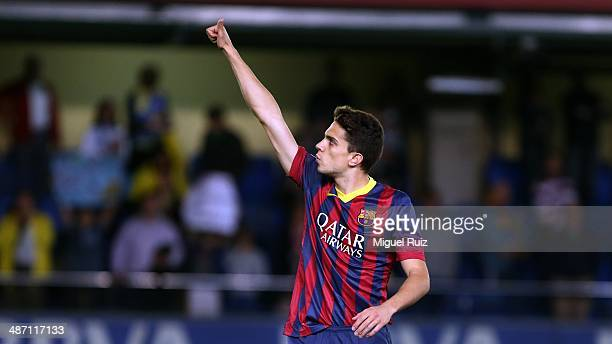 Marc Bartra of FC Barcelona celebrates the third goal during the La Liga match between Villarreal CF and FC Barcelona at El Madrigal on April 27 2014...