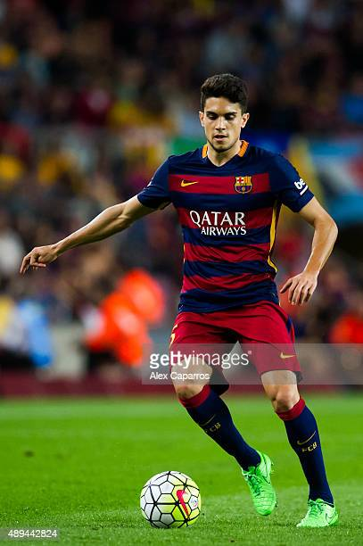 Marc Bartra of FC Barcelona controls the ball during the La Liga match between FC Barcelona and Levante UD at Camp Nou on September 20 2015 in...