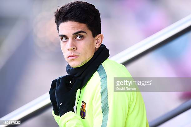 Marc Bartra of FC Barcelona looks on during a training session ahead of their UEFA Champions League Group F match against Paris SaintGermain FC at...