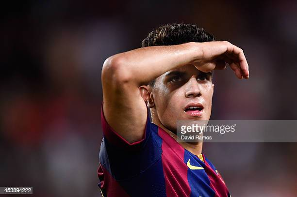 Marc Bartra of FC Barcelona looks on during the Joan Gamper Trophy match between FC Barcelona and Club Leon at Camp Nou on August 18 2014 in...