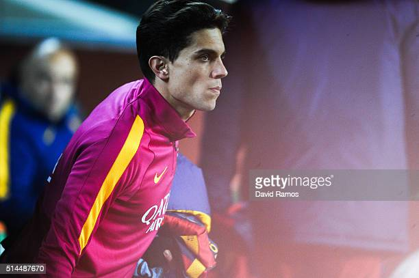 Marc Bartra of FC Barcelona looks on prior to the Copa del Rey Semi Final first leg match between FC Barcelona and Valencia at Nou Camp on February 3...