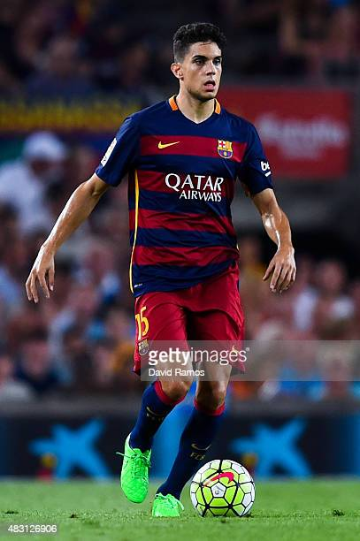 Marc Bartra of FC Barcelona runs with the ball during the Joan Gamper trophy match at Camp Nou on August 5 2015 in Barcelona Spain