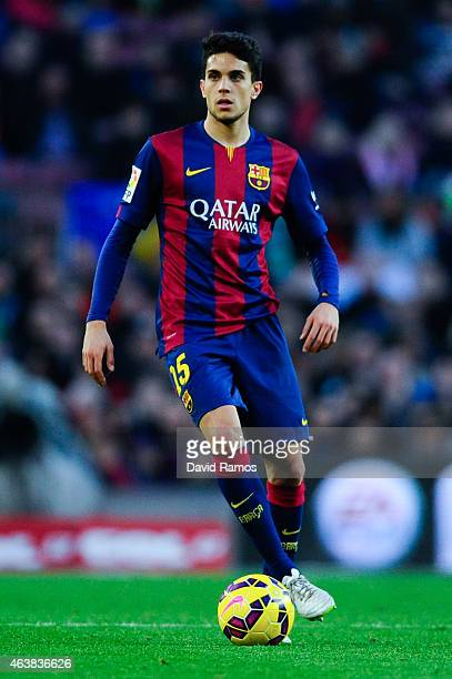 Marc Bartra of FC Barcelona runs with the ball during the La Liga match between FC Barcelona and Levante UD at Camp Nou on February 15 2015 in...