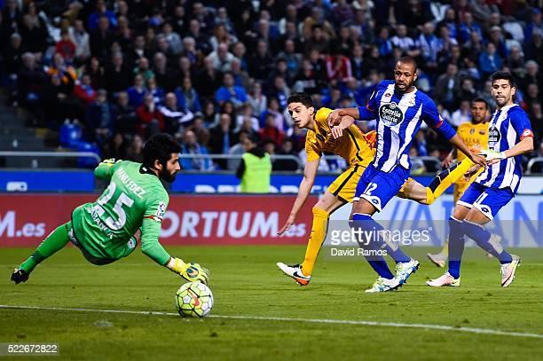 Marc Bartra of FC Barcelona scores his team's seventh goal during the La Liga match between RC Deportivo La Coruna and FC Barcelona at Riazor Stadium...