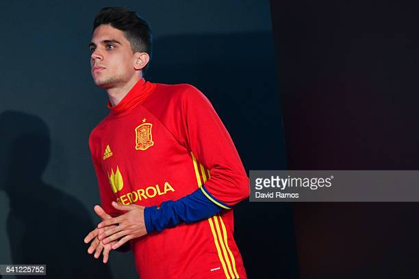 Marc Bartra of Spain arrives at a press conference at Complexe Sportif Marcel Gaillard on June 19 2016 in La Rochelle France