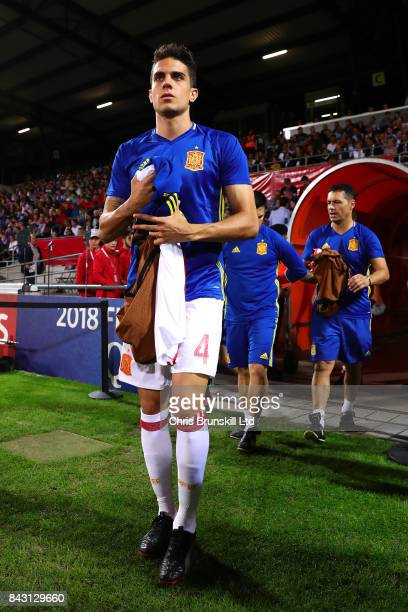 Marc Bartra of Spain emerges from the tunnel ahead of the FIFA 2018 World Cup Qualifier between Liechtenstein and Spain at Rheinpark Stadion on...