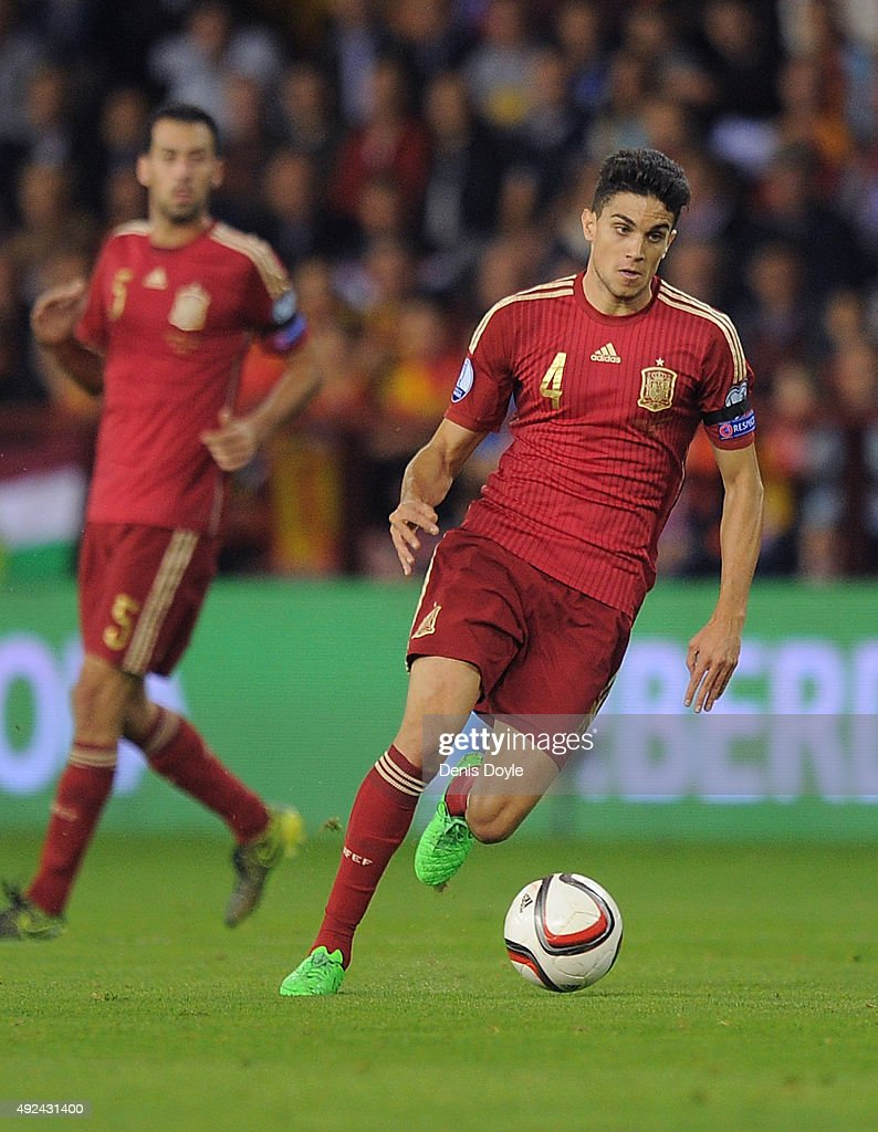 Marc Bartra of Spain in action during the UEFA EURO 2016 Qualifier group C match between Spain and Luxembourg at Estadio Municipal Las Gaunas on...