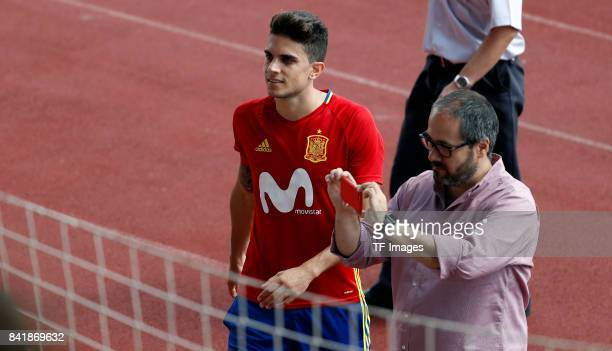 Marc Bartra of Spain looks on during a training session on August 30 2017 in Madrid Spain