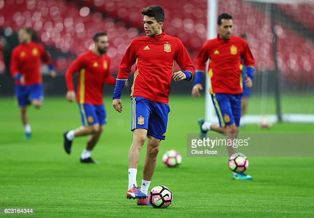 Marc Bartra of Spain warms up during a training session at Wembley Stadium on November 14 2016 in London England