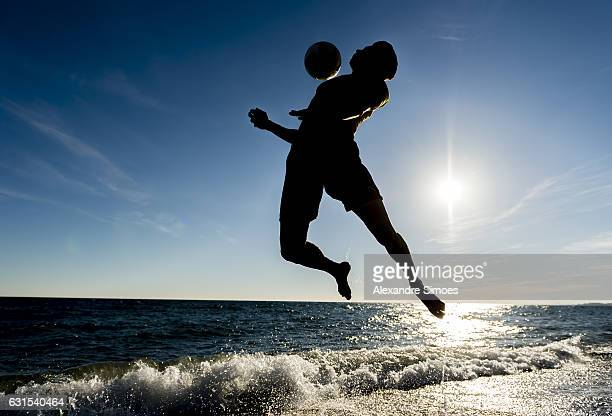 Marc Bartra plays football on the beach during a training camp on January 11 2017 in Marbella Spain