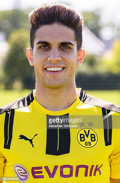 Marc Bartra poses during the team presentation of Borussia Dortmund on August 17 2016 in Dortmund Germany