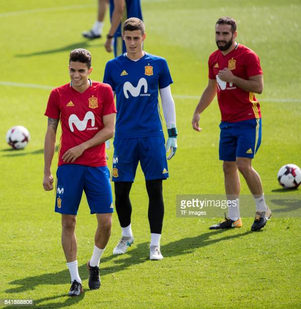 Marc Bartraof Spain Kepa and Dani Carvajal looks on during a training session on August 29 2017 in Madrid Spain