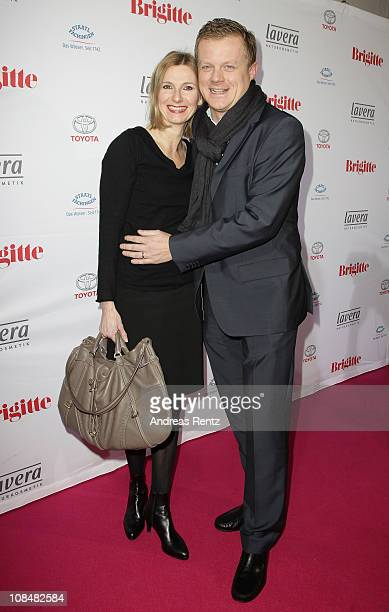 Marc Bator and wife Hellen Bator arrive for the BRIGITTE fashion event at the Hamburg Cruise Center on January 28 2011 in Hamburg Germany