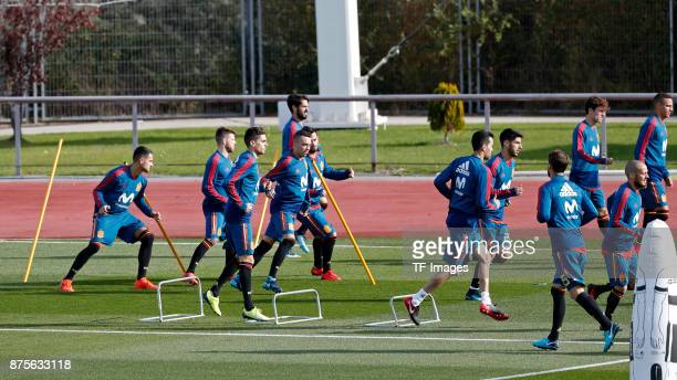 Marc Batra of Spain Iago Aspas of Spain Vitolo of Spain Marco Asensio of Spain and Isco Alarcon of Spain in action during a training session on...