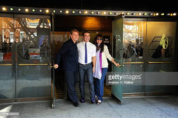 Marc Benecke Andy Cohen and Myra Scheer attend the unveiling of the Marquee at Studio 54 on October 11 2011 in New York City