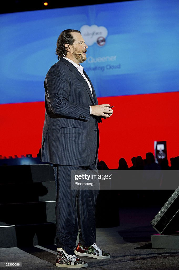 Marc Benioff, chairman and chief executive officer of Salesforce.com Inc., speaks during a keynote address at the DreamForce Conference in San Francisco, California, U.S., on Wednesday, Sept. 19, 2012. Salesforce.com Inc. said it's releasing a new version of its software for tablet computers and unifying its social-media marketing products into a single suite, as it races to stay ahead of new market entrants. Photographer: David Paul Morris/Bloomberg via Getty Images