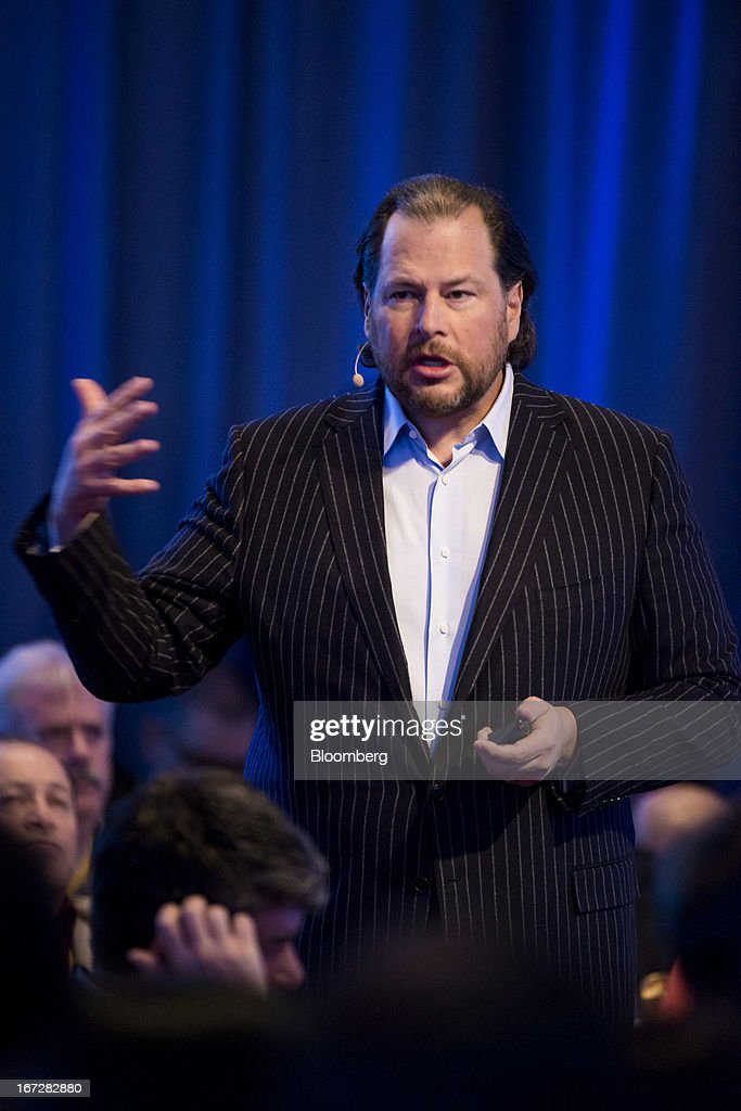 <a gi-track='captionPersonalityLinkClicked' href=/galleries/search?phrase=Marc+Benioff&family=editorial&specificpeople=6871116 ng-click='$event.stopPropagation()'>Marc Benioff</a>, chairman and chief executive officer of Salesforce.com Inc., speaks during an event in San Francisco, California, U.S., on Tuesday, April 23, 2013. Benioff unveiled a new Salesforce.com service named Salesforce Social.com which is designed to help companies create, optimize and automate social ad campaigns. Photographer: David Paul Morris/Bloomberg via Getty Images