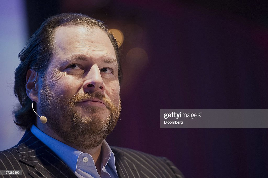 <a gi-track='captionPersonalityLinkClicked' href=/galleries/search?phrase=Marc+Benioff&family=editorial&specificpeople=6871116 ng-click='$event.stopPropagation()'>Marc Benioff</a>, chairman and chief executive officer of Salesforce.com Inc., pauses while speaking at an event in San Francisco, California, U.S., on Tuesday, April 23, 2013. Benioff unveiled a new Salesforce.com service named Salesforce Social.com which is designed to help companies create, optimize and automate social ad campaigns. Photographer: David Paul Morris/Bloomberg via Getty Images