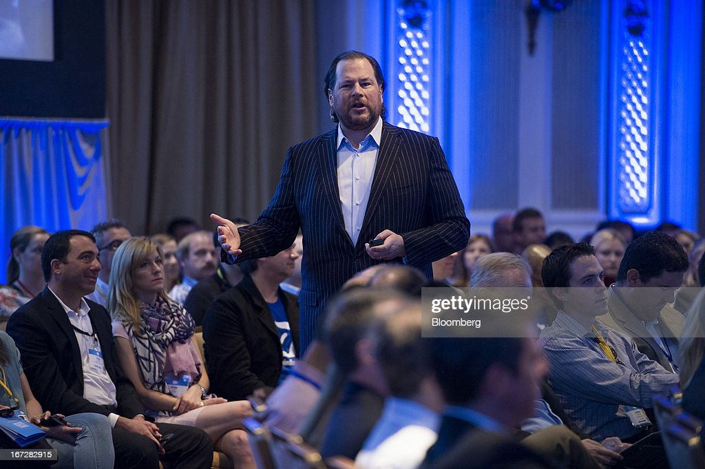 Marc Benioff, chairman and chief executive officer of Salesforce.com Inc., speaks during an event in San Francisco, California, U.S., on Tuesday, April 23, 2013. Benioff unveiled a new Salesforce.com service named Salesforce Social.com which is designed to help companies create, optimize and automate social ad campaigns. Photographer: David Paul Morris/Bloomberg via Getty Images