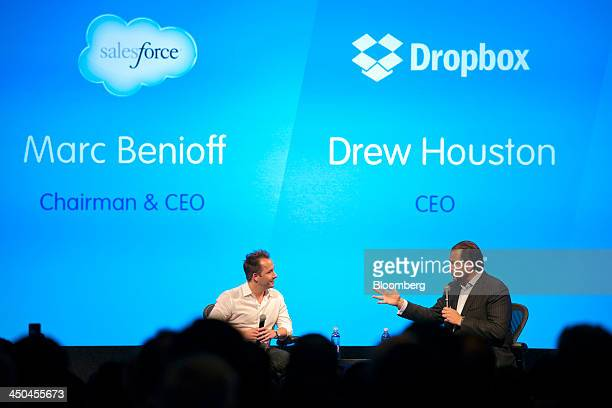 Marc Benioff chairman and chief executive officer of Salesforcecom Inc right speaks as Drew Houston chief executive officer and cofounder of Dropbox...