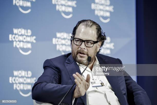 Marc Benioff chairman and chief executive officer of Salesforcecom Inc speaks during a session at the World Economic Forum Annual Meeting of the New...