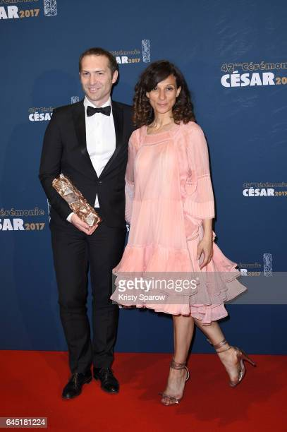 Marc Benoit Creancier and Houda Benyamina attend the Cesar Film Awards 2017 at Salle Pleyel on February 24 2017 in Paris France
