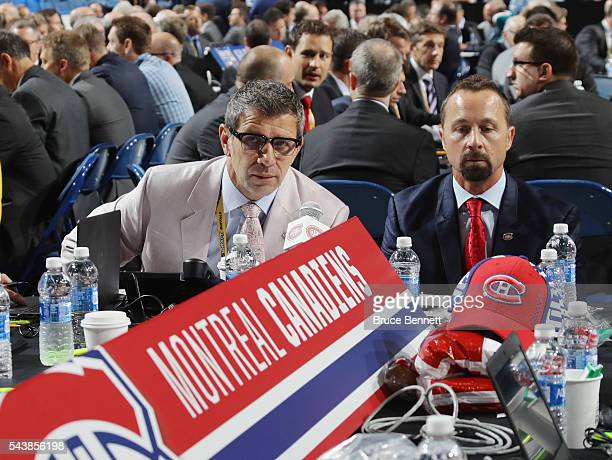 Marc Bergevin and Trevor Timmins of the Montreal Canadians attend the 2016 NHL Draft on June 25 2016 in Buffalo New York