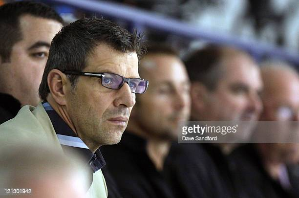 Marc Bergevin assistant general manager of the Chicago Blackhawks looks on during the NHL Research Development and Orientation Camp held at the...