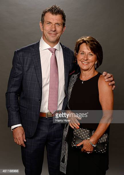 Marc Bergevin General Manager of the Montreal Canadiens and his sister Carol Bergevin pose for a portrait during the 2014 NHL Awards at Encore Las...