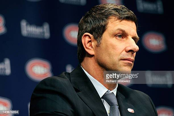 Marc Bergevin is introduced as the Montreal Canadiens next General Manger during a press conference at the Bell SportsPlex on May 2 2012 in Brossard...
