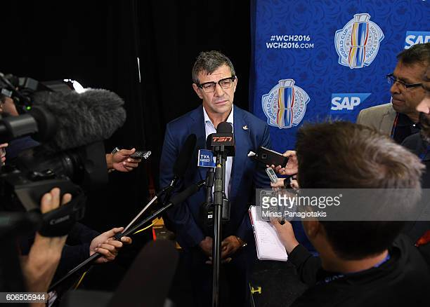 Marc Bergevin of Team Canada answers questions during Media day at the World Cup of Hockey 2016 at Air Canada Centre on September 15 2016 in Toronto...