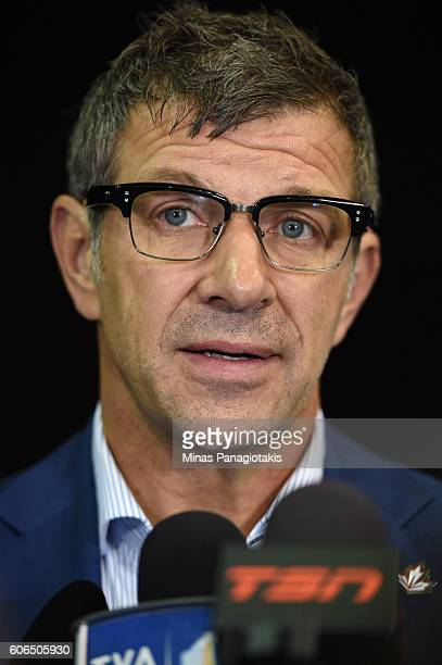 Marc Bergevin of Team Canada listens to a question during Media day at the World Cup of Hockey 2016 at Air Canada Centre on September 15 2016 in...