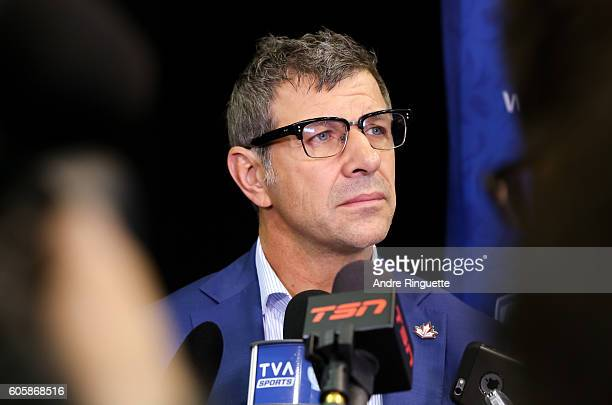 Marc Bergevin of Team Canada takes questions during media day at the World Cup of Hockey 2016 at Air Canada Centre on September 15 2016 in Toronto...