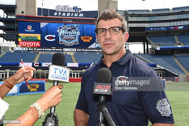 Marc Bergevin of the Montreal Canadiens talks to the media after the announcement of the 2016 NHL Winter Classic at the Gillette Stadium on July 29...