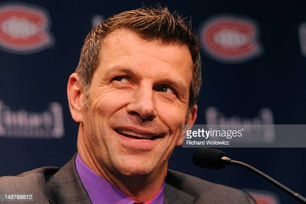 Marc Bergevin speaks to members of the media after introducing Michel Therrien as the new Head Coach of the Montreal Canadiens at the Bell SportsPlex...