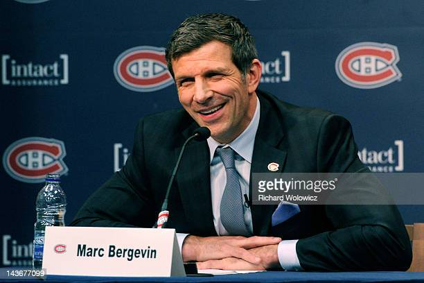 Marc Bergevin speaks to the media during his introduction as the new General Manager for the Montreal Canadiens at the Bell SportsPlex on May 2 2012...