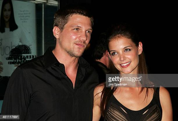 Marc Blucas and Katie Holmes during First Daughter New York Premiere Arrivals at Clearview's Chelsea West Theater in New York City New York United...