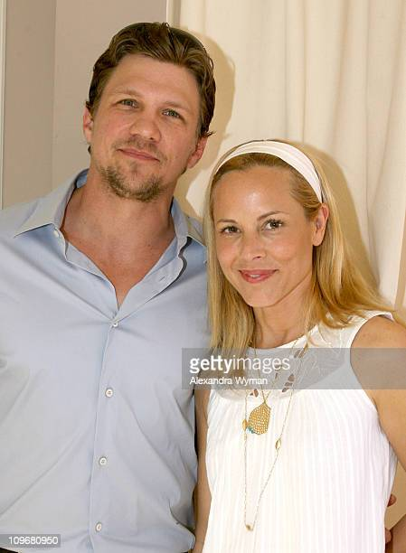 Marc Blucas and Maria Bello during MaxMara and Women in Film Host Luncheon For Honoree Emily Blunt at Sunset Tower in West Hollywood California...