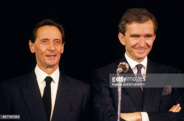 Marc Bohan and Bernard Arnault at Dior party at Lido cabaret on February 13 1987 in Paris France
