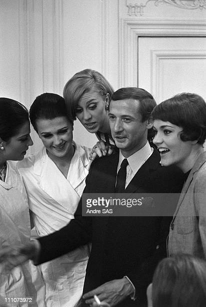 Marc Bohan artistic director of Christian Dior with models in Paris France in November 1976