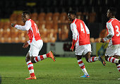 Marc Bola celebrates scoring Arsenal's 2nd goal with Ainsley MaitlandNiles during the match between Arsenal U18 and Crewe Alexandra U18 in the FA...